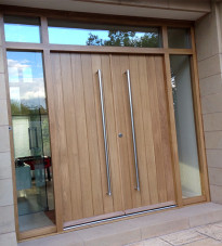 Contemporary door with glazed panels