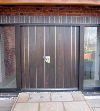contemporary front door with wooden panels