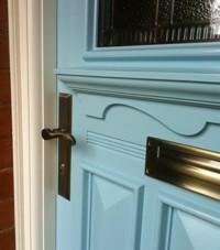 Close up of our 1930s door's frieze & accessories