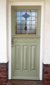 Green 1930s front door