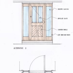 Bespoke door design showing our traditional 4 panel front door