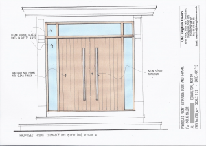 Drawing of our contemporary double doors