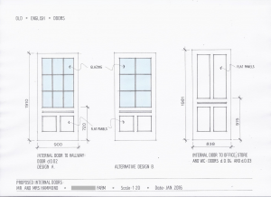 Drawing of three different internal doors