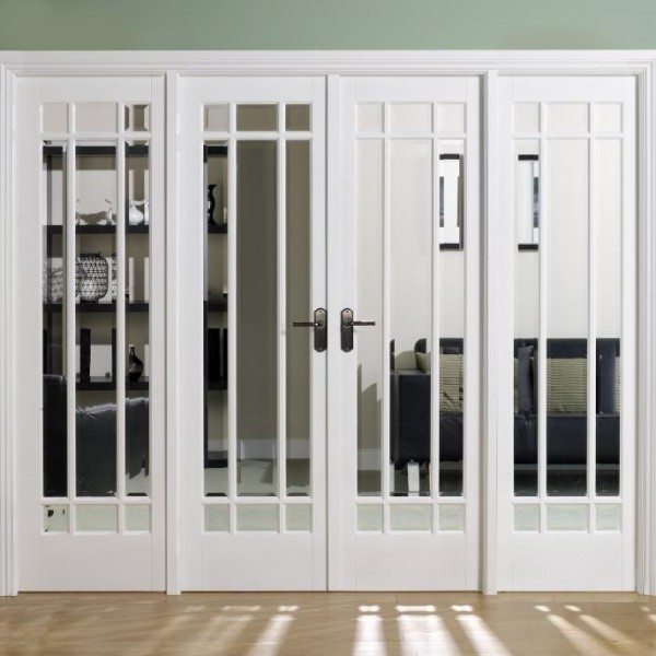 Manhattan White French Doors - larger sidelights