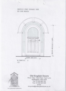 Drawing of a 1930's entrance door