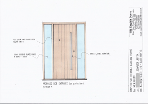 Drawing of a single contemporary door