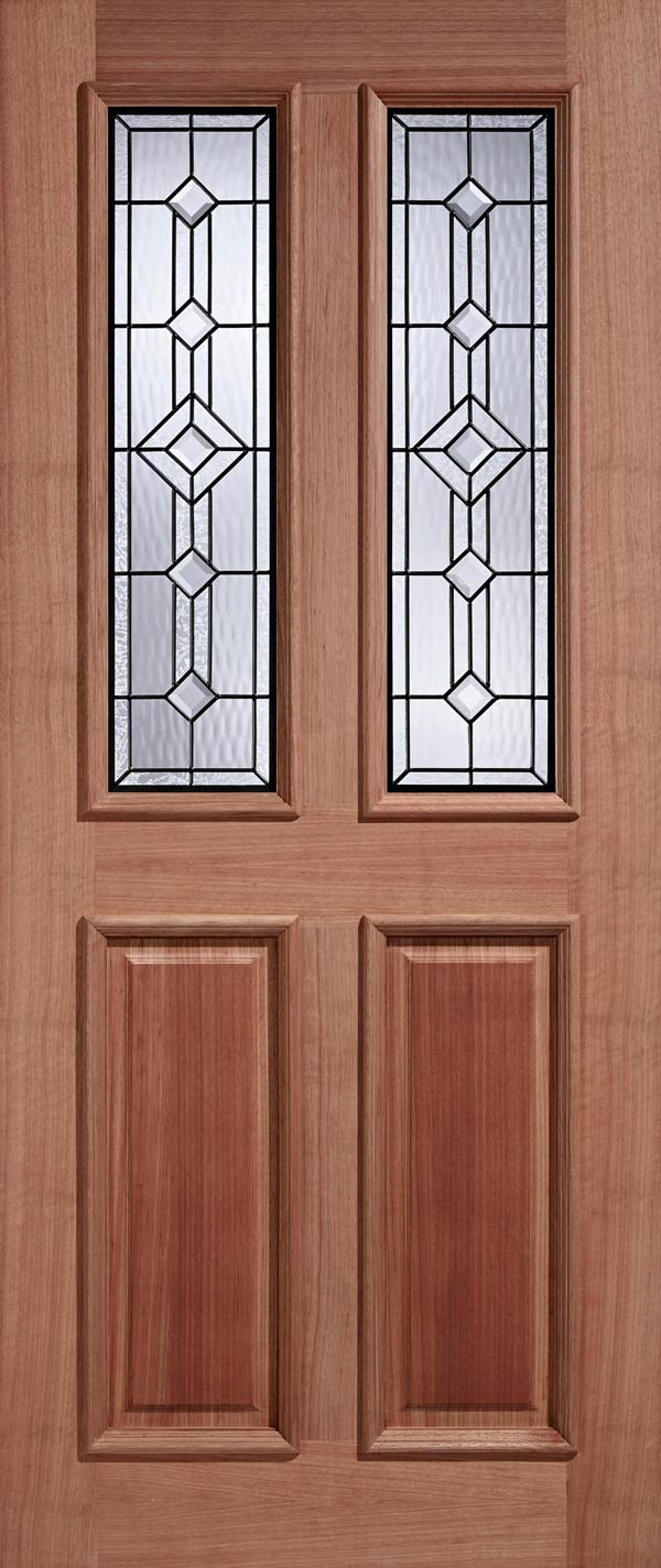 Derby Double Glazed Leaded Entrance Door Old English