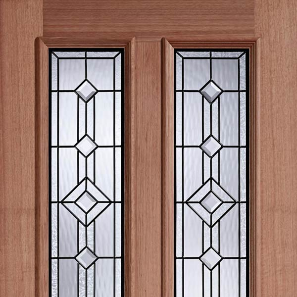 Derby double glazed leaded entrance door old english for Double glazed glass panels