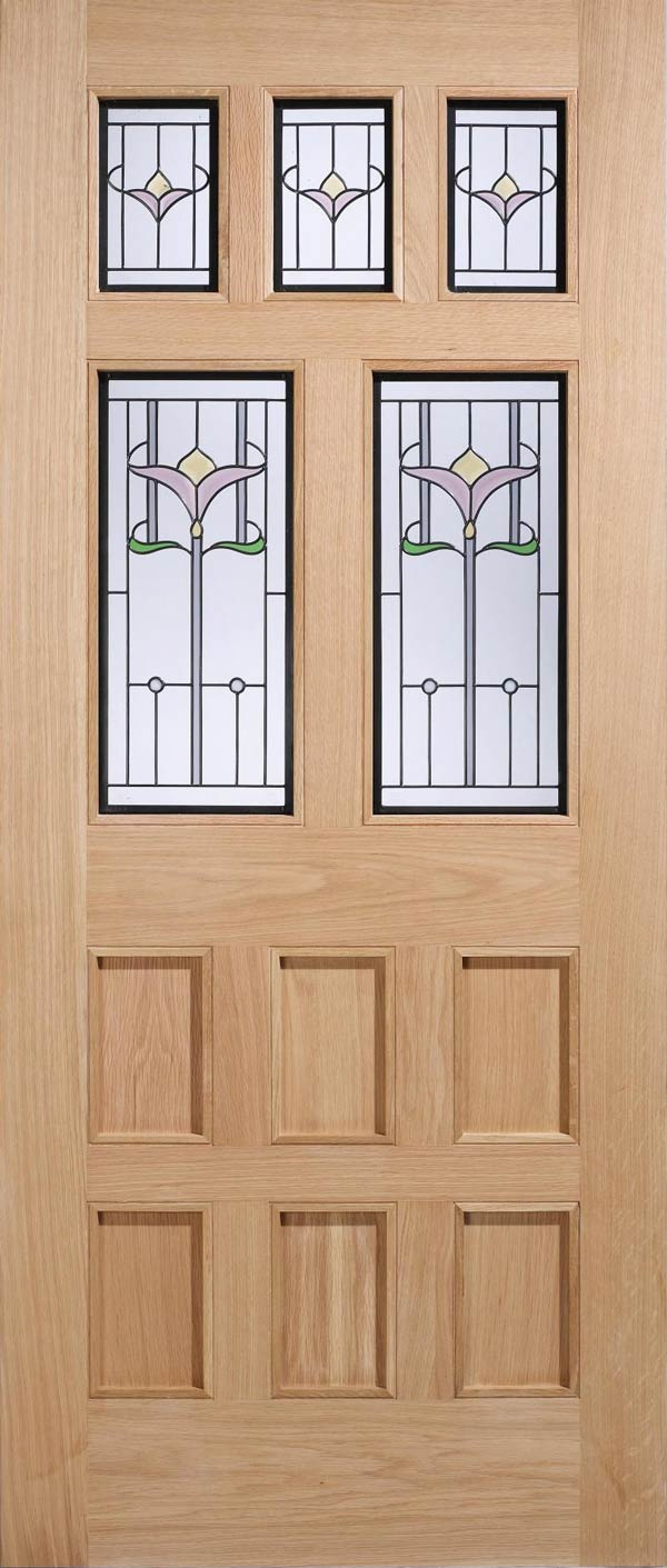 Knightsbridge Oak Double Glazed Entrance Door Old