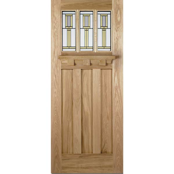 Tuscany double glazed oak entrance door with gallery shelf for External wooden front doors