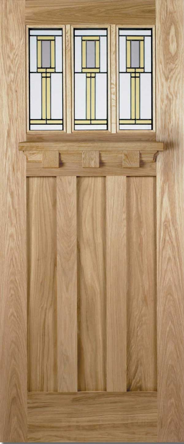 Tuscany Double Glazed Oak Entrance Door With Gallery Shelf