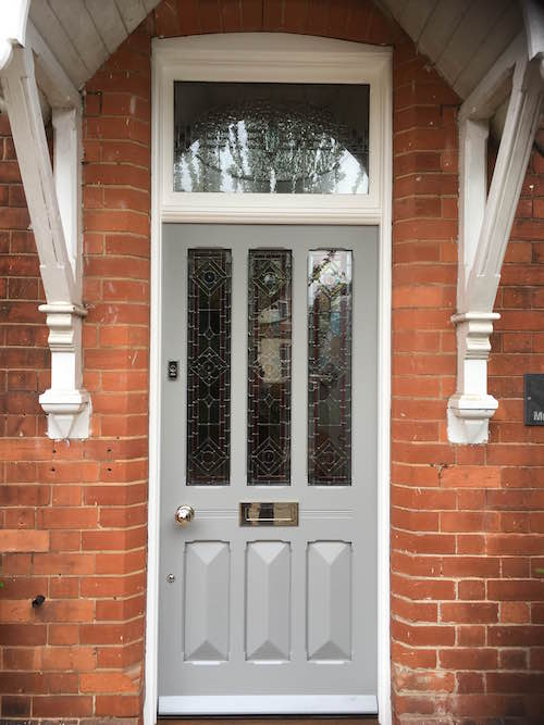 Edwardian entrance door painted in Farrow & Ball's Manor House Grey - a very modern colour