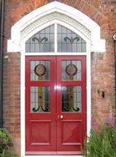 Victorian door with stained glass