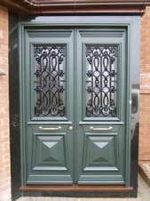Traditional front door in the Greek Revival style