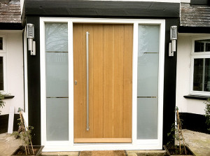Contemporary glazed door with frosted glazing