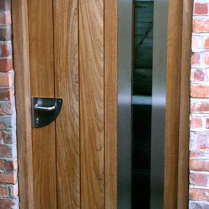 Contemporary front door with vertical panels and glazing