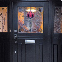 Traditional Front Door with Art Nouveau Glazing