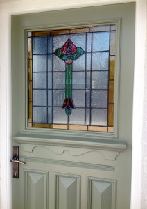 1930s door with Floral Stained Glass