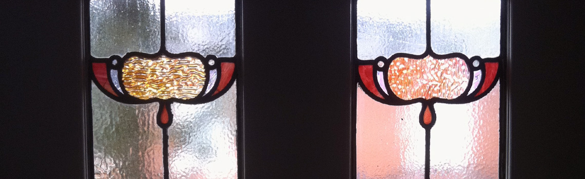 An example of our bespoke stained glass, which is handmade to order