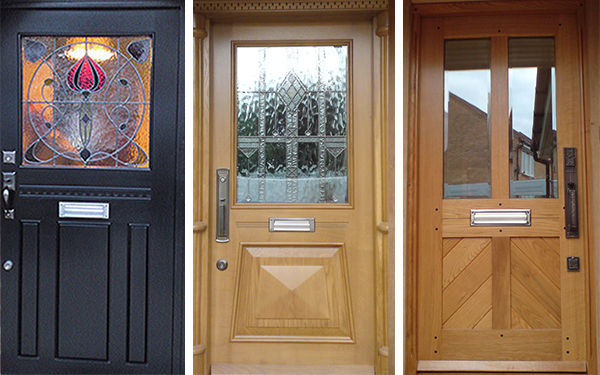 three examples of our handmade traditional wooden front doors