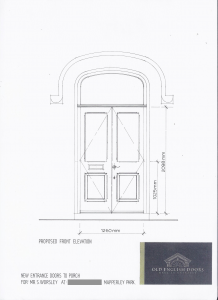 Drawing of our double entrance doors
