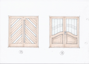 Drawing of a set of double doors
