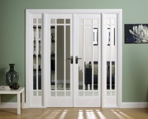 Manhattan white french doors with sidelights