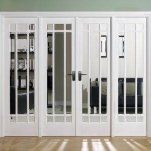 Manhattan White French Doors - larger sidelights