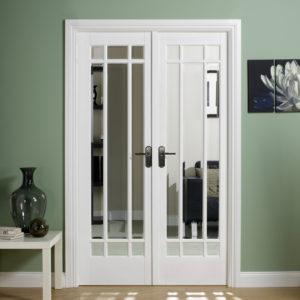 Manhattan sold white primed double doors