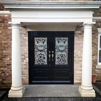 Georgian Double Doors With Decorative Grilles Old