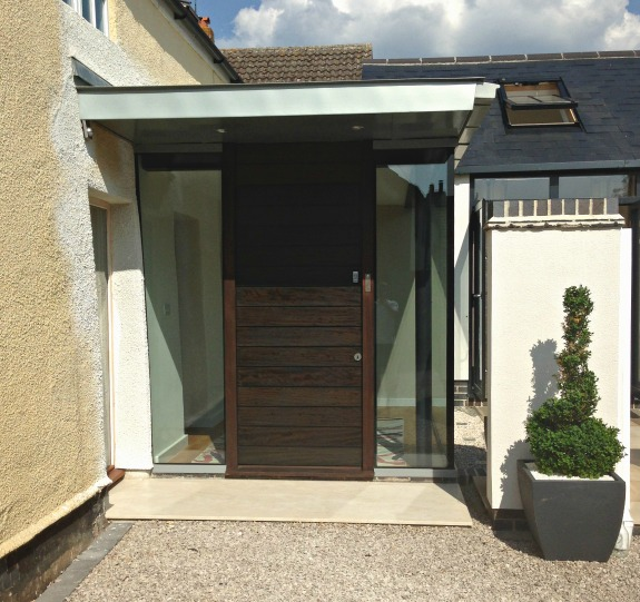 Contemporary Iroko door with horizontal boards